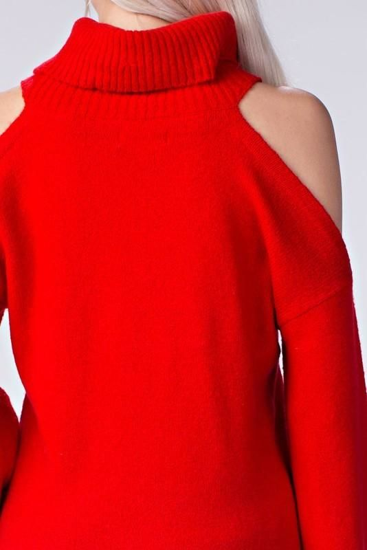 Red Cold Shoulder Bell Sleeve Turtleneck Sweater Top