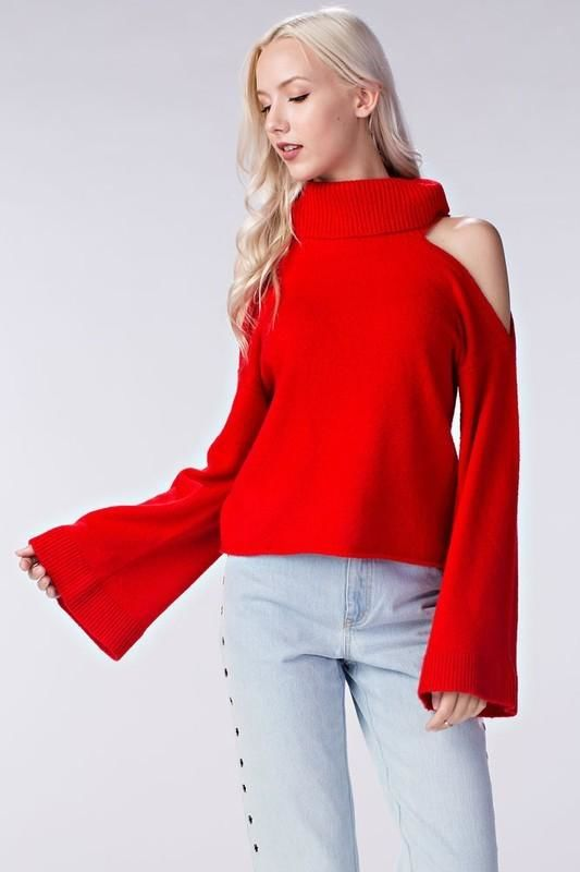 Red Cold Shoulder Bell Sleeve Turtleneck Sweater S(4-6) Top