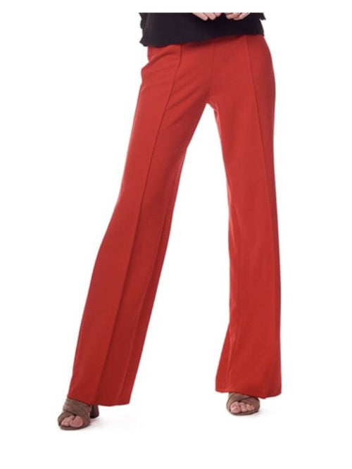 Red Fitted Wide Leg Belted Pant Pant