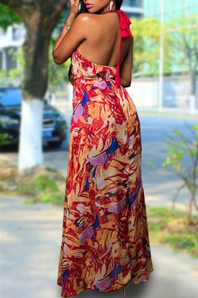 Red Multicolor Halter V Neck Chiffon Romper Sundress