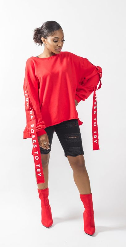 Red Oversized 1700 Instagram Poses Deconstructed Sweatshirt S/m Top