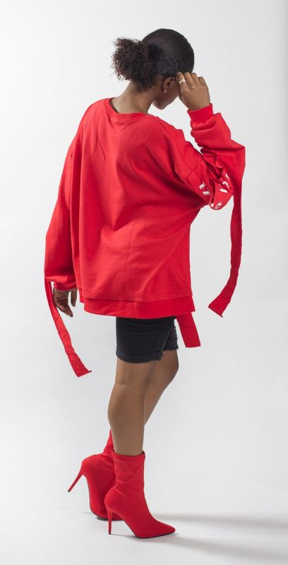 Red Oversized 1700 Instagram Poses Deconstructed Sweatshirt Top