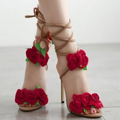 Red Rose Cross Strap Sandals Apricot / 5.5 Sandals