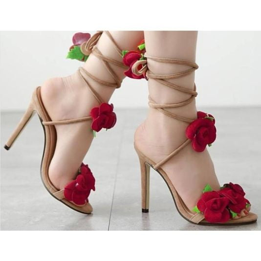 Red Rose Cross Strap Sandals - sandals