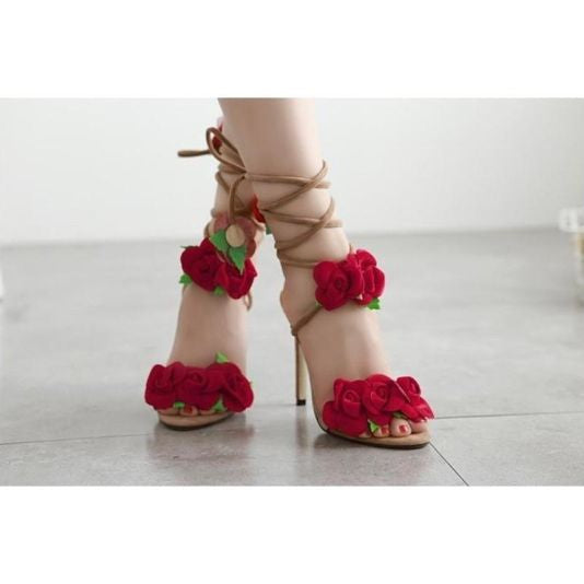 Red Rose Cross Strap Sandals Sandals