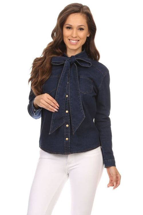Rosa Dark Denim Button Down Tie Neck Blouse Shirt S(2-4) Top
