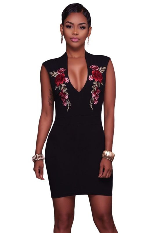 Rose Embroidered Black Bodycon Mini Dress