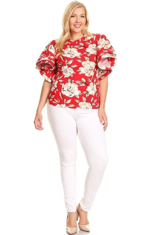 Rosy Red Floral Flutter Sleeve Top - Plus/curvy 1Xl(12-14) Top