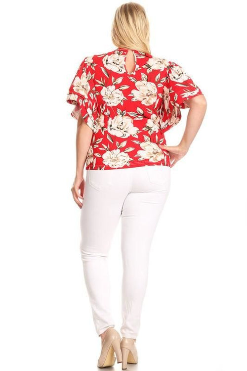 Rosy Red Floral Flutter Sleeve Top - Plus/curvy Top