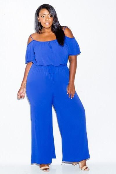 Royal Blue Cold Shoulder Short Sleeve Jumpsuit Plus/curvy 1Xl(10-12) Jumpsuit