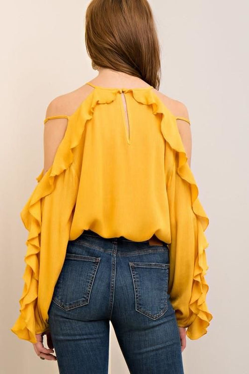 Ruffle Cold Shoulder Long Sleeve Rayon Blouse Top