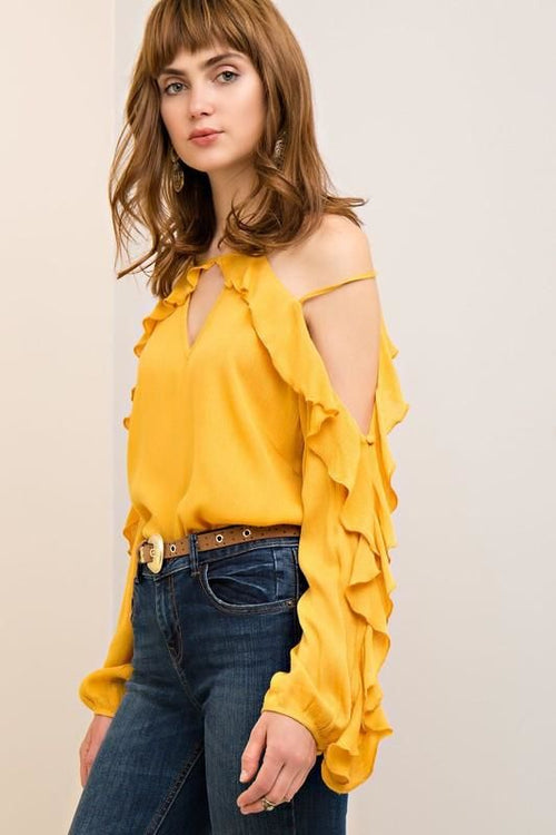 Ruffle Cold Shoulder Long Sleeve Rayon Blouse S Top