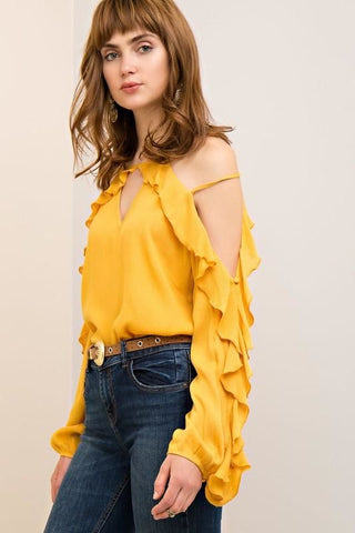 Faux Suede Off Shoulder Embroidered Bell Sleeve Top - PLUS/CURVY