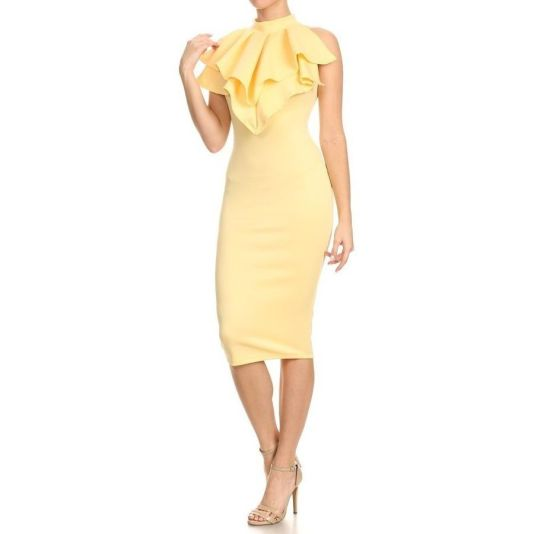 Ruffle Collar Bodycon Midi Dress S(2/4) / Banana