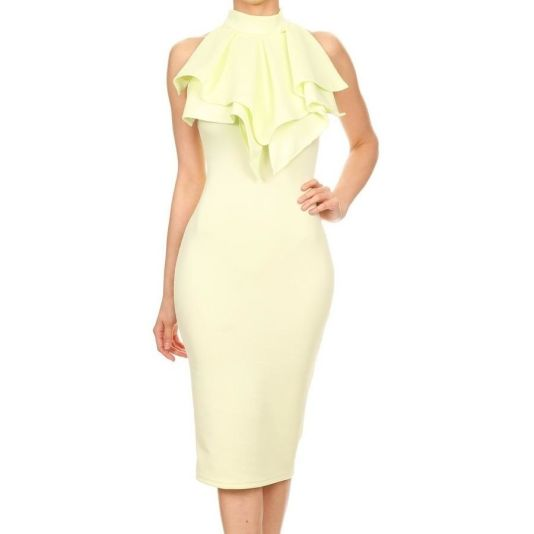 Ruffle Collar Bodycon Midi Dress
