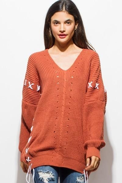 Rust Lace Up Back Oversized Sweater Sweater