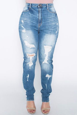 Distressed Covered Ripped Denim Jeans