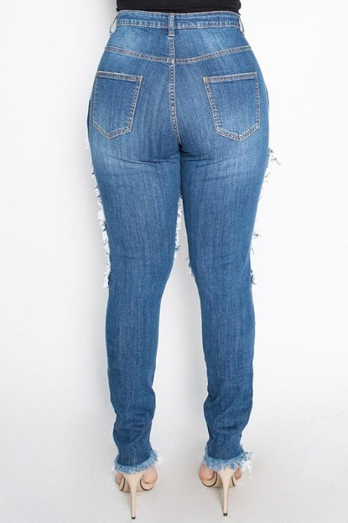 Sassy High Rise Skinny Jeans W/hand Sanding & Destruction-Plus Jeans