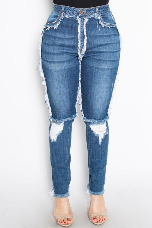 Sassy High Rise Skinny Jeans W/hand Sanding & Destruction-Plus 3Xl Jeans