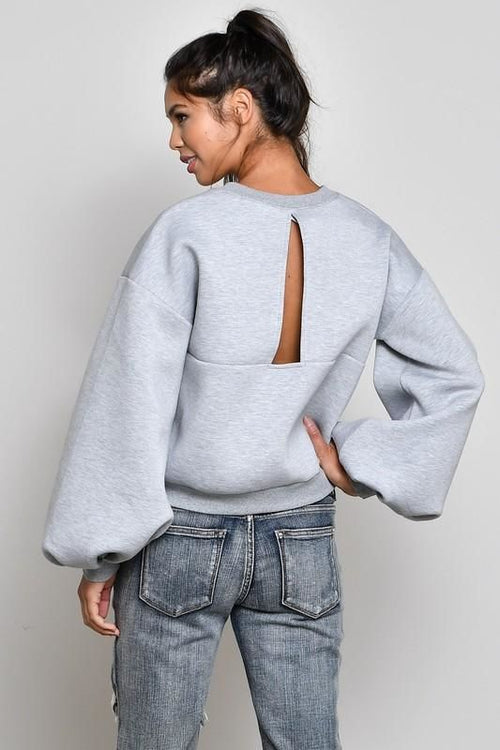 Silver Open Back Bubble Sleeve Sweatshirt Top