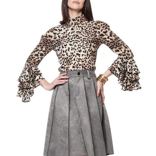 Sophia Leopard Long Ruffle Sleeve Blouse S(0-2) Top