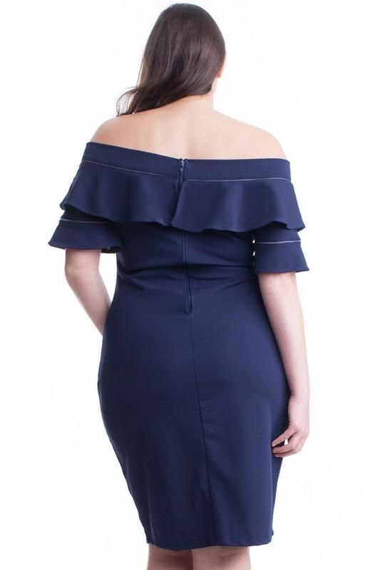 066a97c5ab3 Sophia Navy Off Shoulder Ruffle Sleeve Dress - PLUS CURVY ...