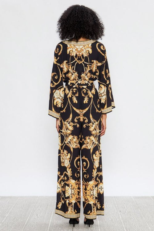 Banesha Beautiful Baroque Patterned Wide Leg Jumpsuit