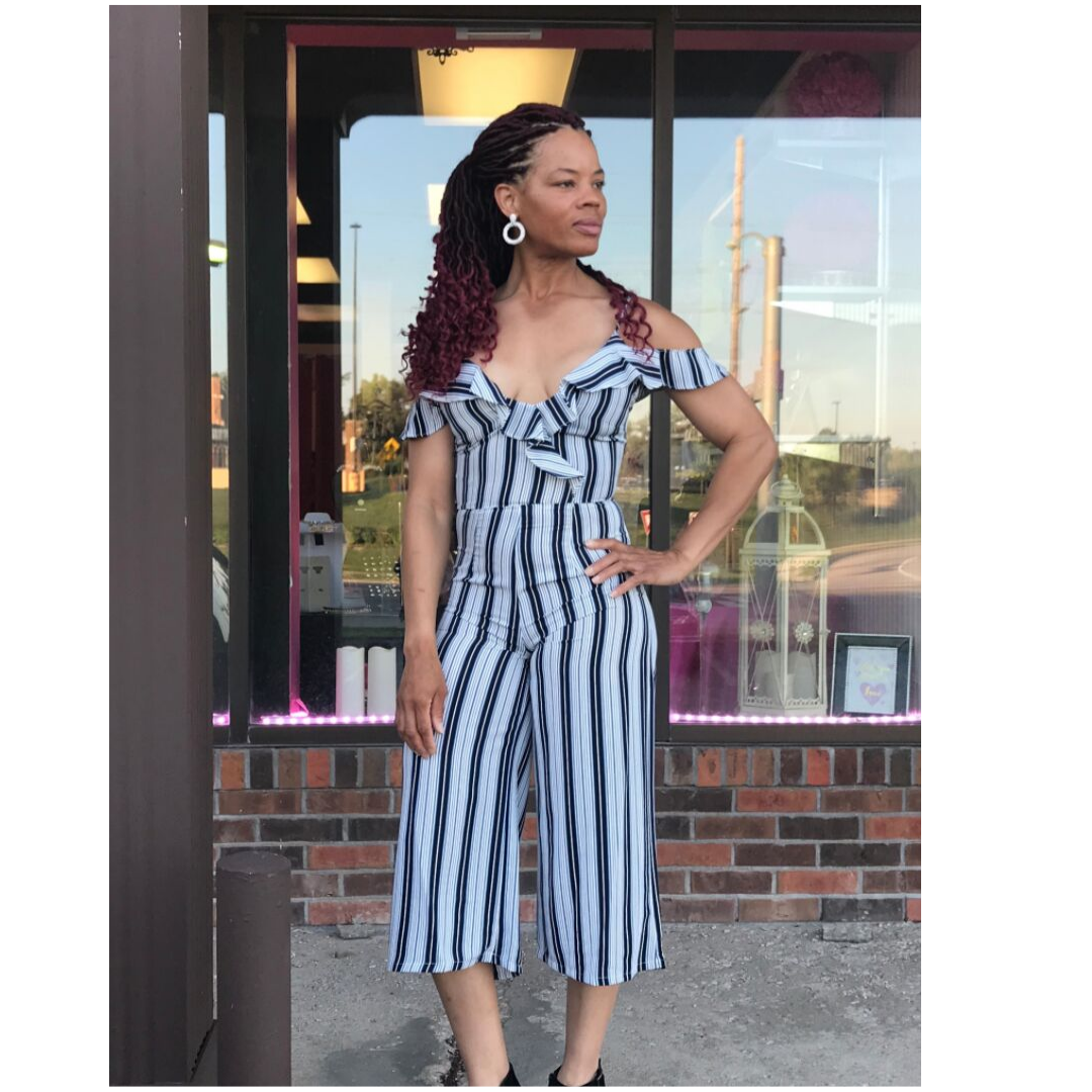 Navy Striped Off Shoulder Ruffle Crop Jumpsuit - jumpsuit