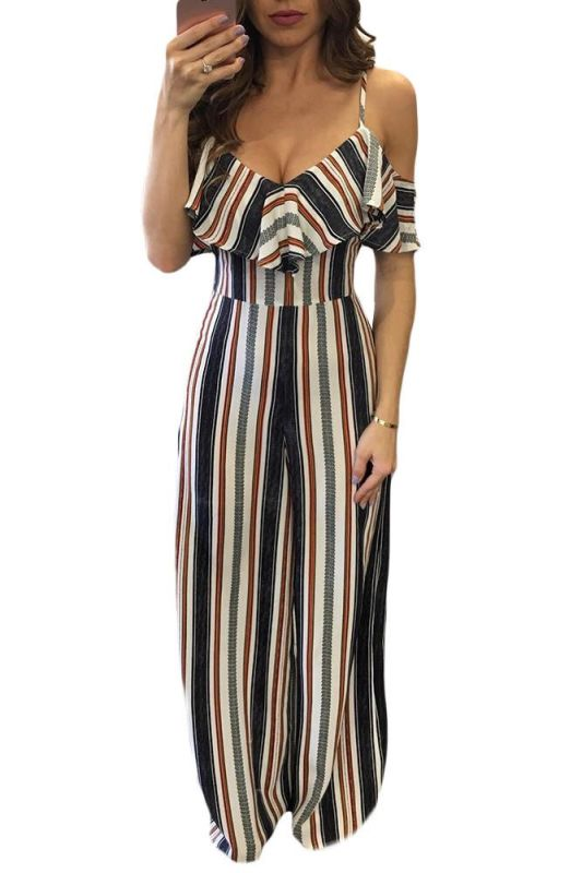 Striped Cold Shoulder Ruffle Sleeve Wide Leg Jumpsuit S Jumpsuit