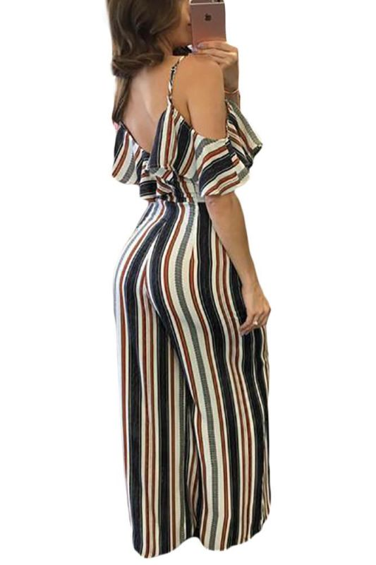 Striped Cold Shoulder Ruffle Sleeve Wide Leg Jumpsuit Jumpsuit