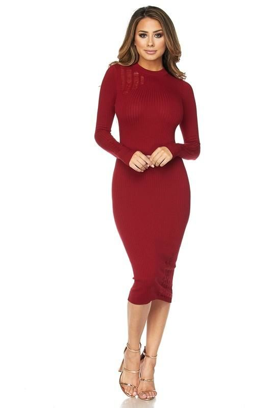 Sweet Wine Distressed Midi Sweater Dress