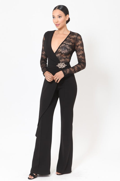 Slaying Side Cape Lace Wide Leg Jumpsuit