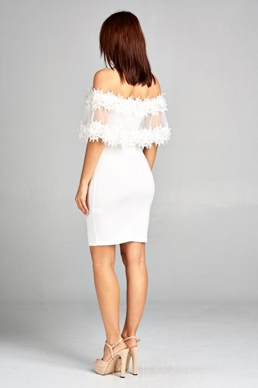 Vanessa White Off Shoulder Lace Ruffle Detail Dress Dress