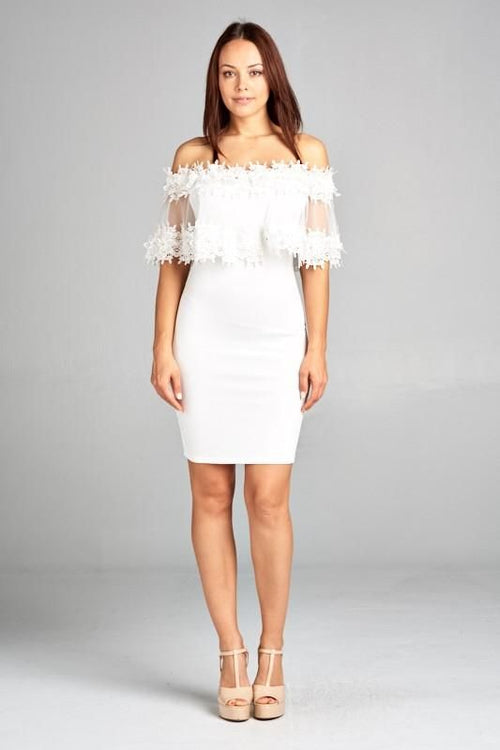 Vanessa White Off Shoulder Lace Ruffle Detail Dress S(2-4) Dress