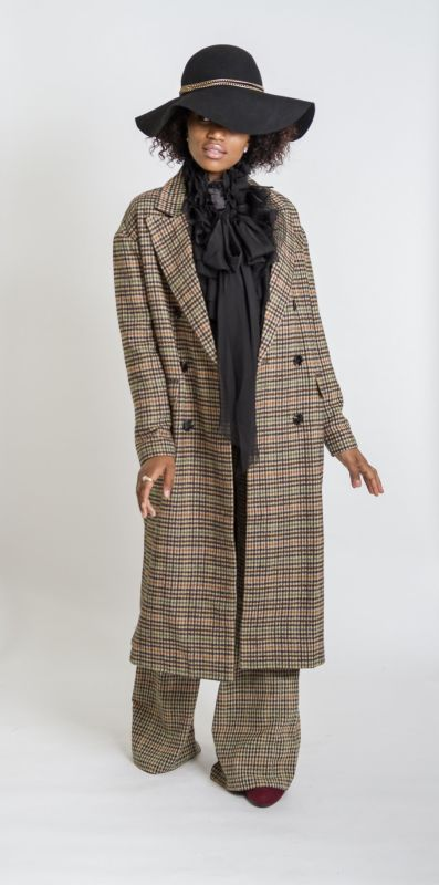 Vintage Plaid Double Breasted Maxi Coat S(4-6) Jacket