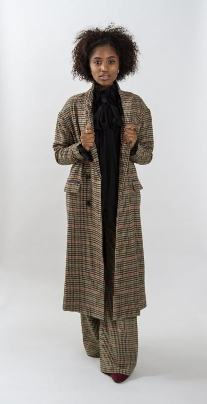 Vintage Plaid Double Breasted Maxi Coat Jacket