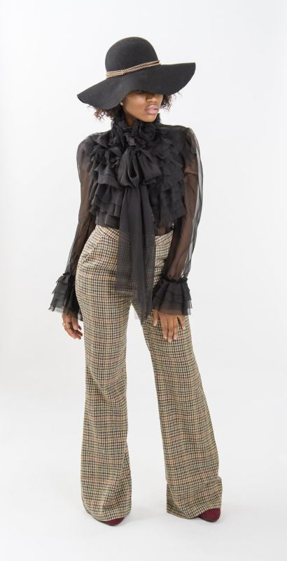 Vintage Plaid Wide Leg Pants (2-4) Pant