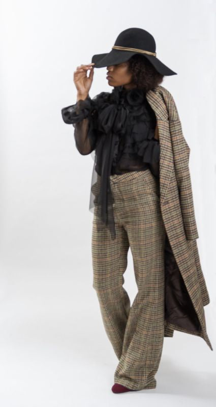 Vintage Plaid Wide Leg Pants - pant