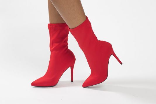 Vivian Red Lycra Pointy Toe Booties 5.5