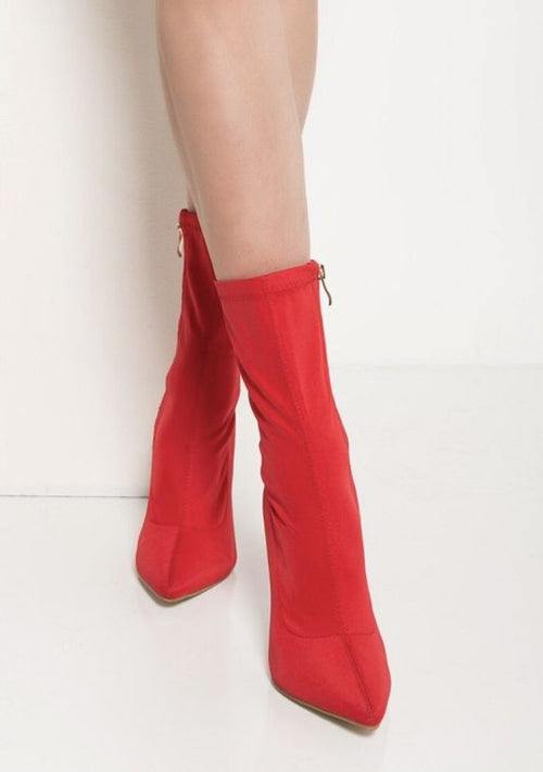 6c8f1a956c1618 Vivian Red Lycra Pointy Toe Booties