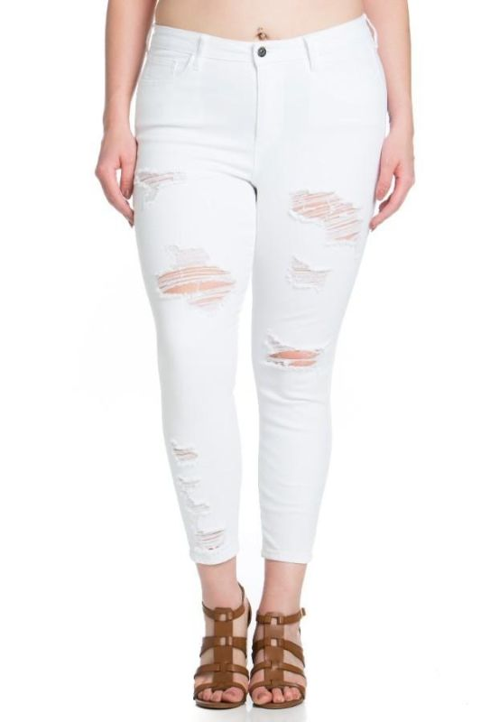 White Distressed Ankle Cropped Skinny-Plus 14 Jeans