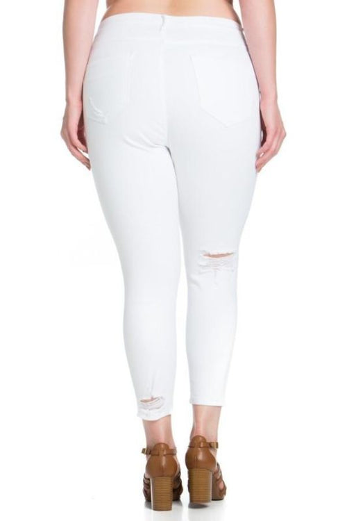 White Distressed Ankle Cropped Skinny-Plus Jeans