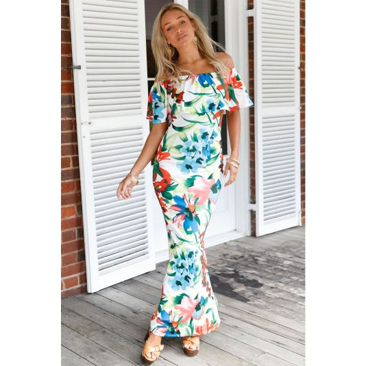 White Floral Print Off-The-Shoulder Maxi Dress S