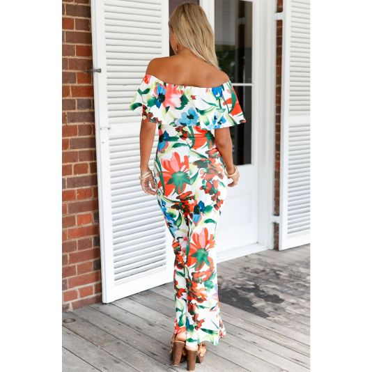 White Floral Print Off-The-Shoulder Maxi Dress