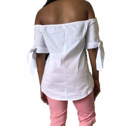 White Short Sleeve Button Down Blouse With Bows Top