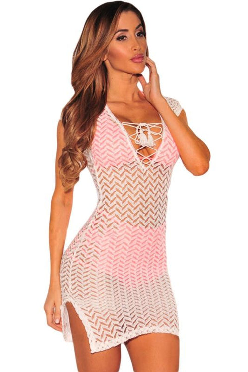 White V Neck Lace Up Cover Dress Cover