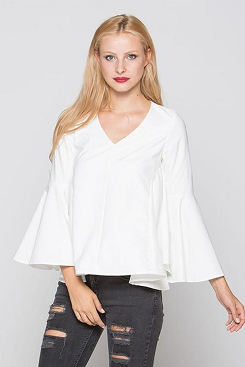 Cream V-Neck Bell Sleeve Swing Top