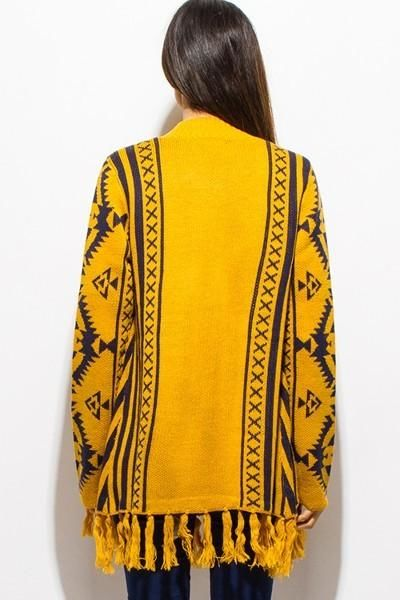 Wind River Aztek Fringe Cardigan Sweater