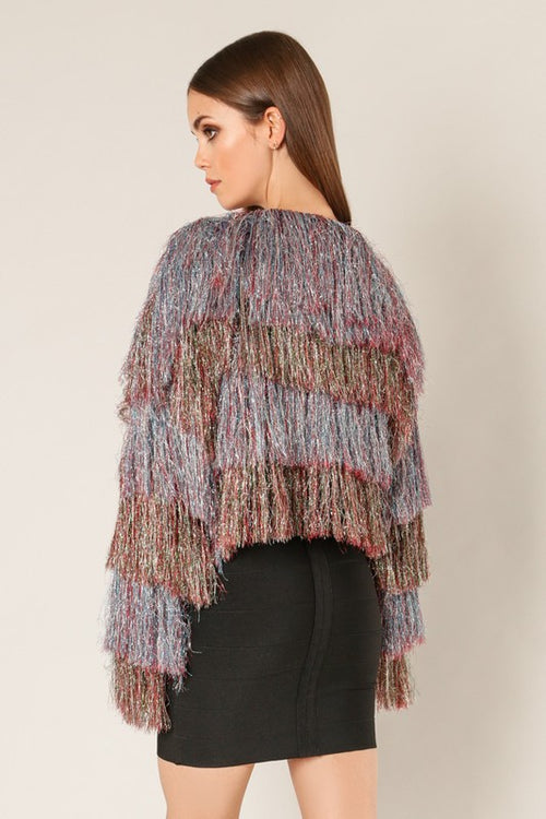 Shimmer In The Night Fringe Sweater Jacket
