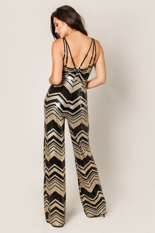 Hollywood Glam Gold & Black Sequin Chevron Jumpsuit